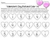 Valentine's Day Roll and Color Numbers 1-6