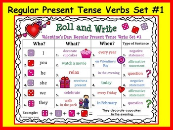 Valentine's Day Roll and Write Activities: Present & Past Tense Verbs