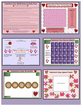 Valentine's Day SMART Board Activity Pack ~ 10 Activities, Language and Math