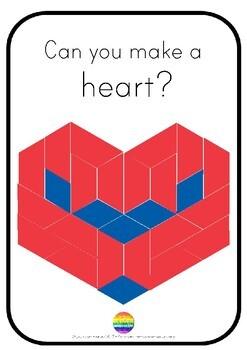Valentines Day STEAM Pattern Block Challenge Cards