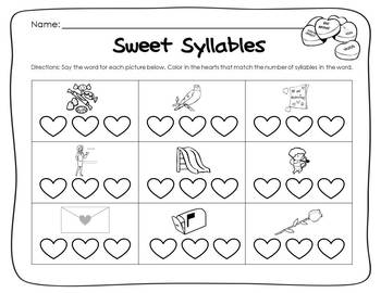 {Valentine's Day} SWEET SYLLABLES Common Core Literacy Center