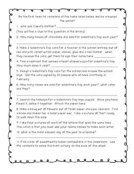 Valentine's Day Scavenger Hunt Activity