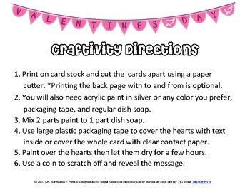 FREE Valentine's Day Cards Printable Craftivity with Scratch-offs SAMPLER