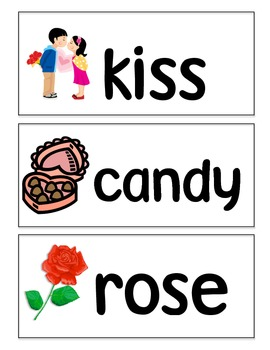 Valentine's Day Sensory Table Words