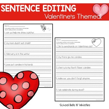 Valentine's Day Sentence Editing Practice