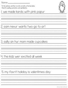 Valentine's Day Sentence Editing Practice