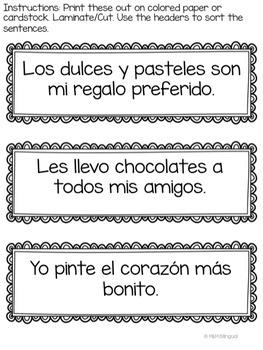 Valentine's Day - Sentence Sort {SPANISH}