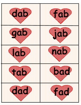 Valentine's Day Short A CVC Word Family Games