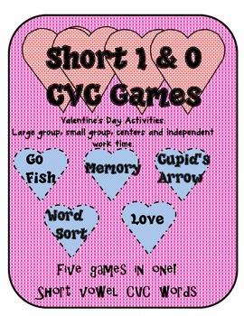Valentine's Day Short I & O CVC Word Family Games