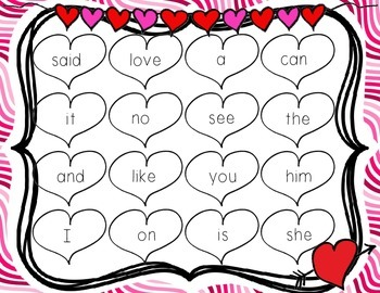 Valentine's Day Sight Word BINGO