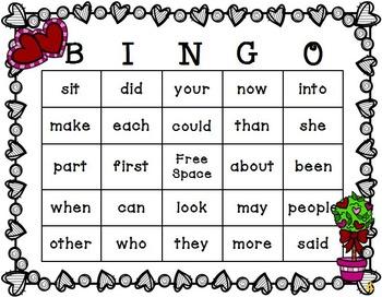 Valentine's Day Sight Word Bingo