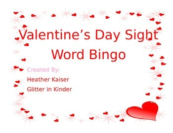 Valentine's Day Sight Word Bingo Primer and Pre-Primer words.