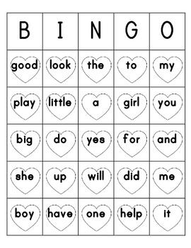 Sight Word Bingo Sheets Prek - 1st