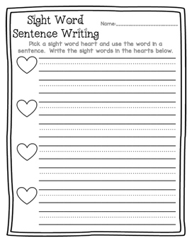 Valentines Day Sight Word Writing Center