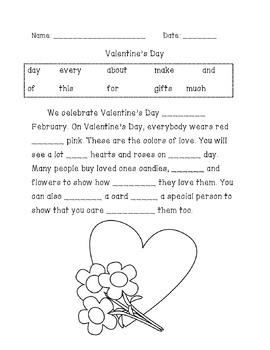 Valentineu0027s Day Sight Word Cloze Paragraph