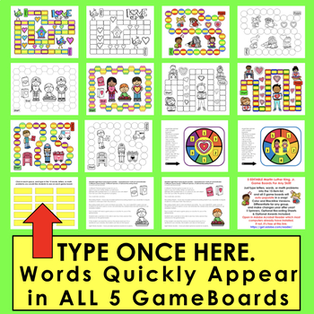 Valentine's Day Games: First 106 Sight Word Game Boards