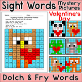 Valentine's Day Activities  - Color by Sight Words Mystery Pictures
