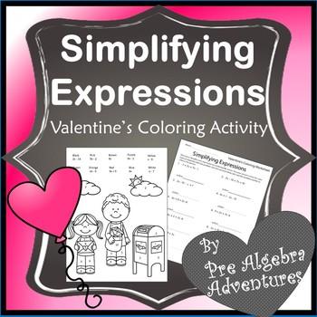 Valentines Day Algebra Simplifying Expressions
