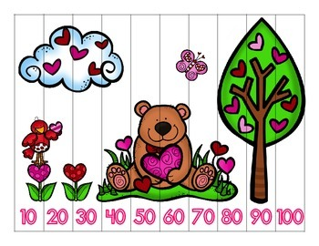 Valentine's Day Skip Counting Puzzles: Counting by 2's, 5's, & 10's