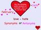 Valentine's Day Smartboard Synonym Antonym Bean Bag Toss