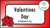 Valentines Day Snack Activity Following Prepositional Directions (4 snacks)