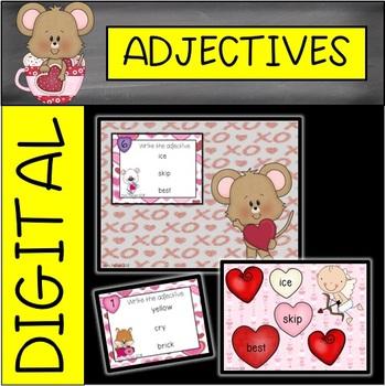 Valentine's Day Snowman Adjective Task Cards