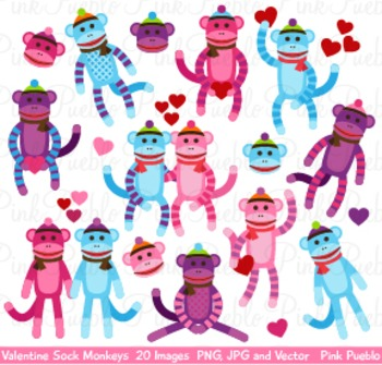 Valentine's Day Sock Monkeys Clipart Clip Art