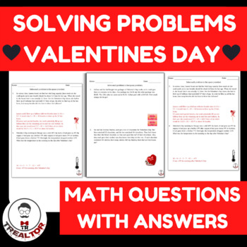 Valentines Day Solving Problems 4TH GRADE