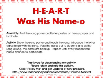 Valentine's Day Song And Posters H-E-A-R-T Was His Name-O