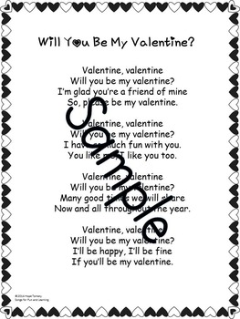 Valentine's Day Song: Will You Be My Valentine? mp3 + Printables