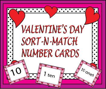Valentine's Day Sort-N-Match Number Cards