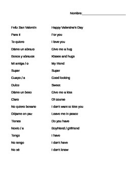Valentine's Day Spanish Coloring Page and Vocabulary
