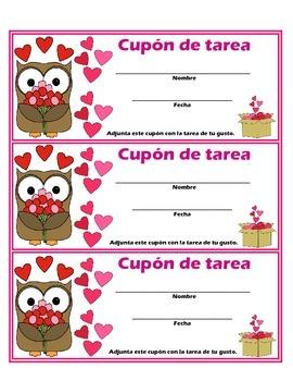 Valentine's Day Spanish Homework Pass: Cupón de Tarea