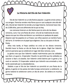 Valentine's Day Spanish Reading Comprehension Informational Text (triple pack)