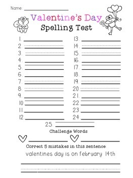 Valentine's Day Spelling Test (25 Word)