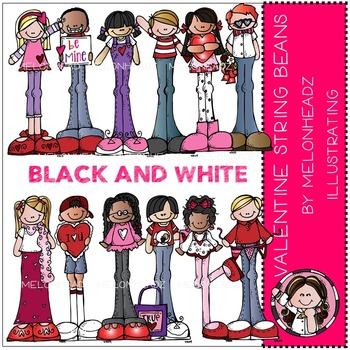 Valentine's Day Stringbeans by Melonheadz BLACK AND WHITE