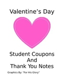 Valentine's Day Student Coupons and Thank You Notes