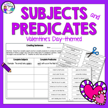 Valentine's Day Activity Subjects and Predicates