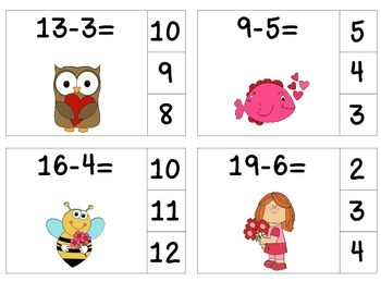 Valentine's Day Subtract & Clip Task Cards {Minuends to 20}