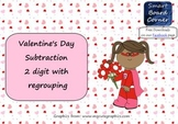 Valentine's Day Subtraction 2 digit with regrouping Smart Board Lesson