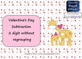 Valentine's Day Subtraction 2 digit without regrouping Smart Board Lesson