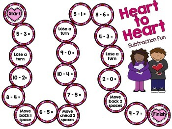 Valentine's Day Subtraction Math Game