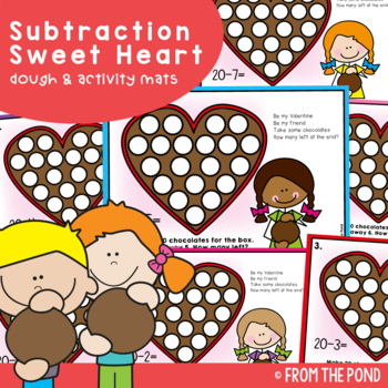 Valentine's Day Subtraction Activities - Play Doh Mats