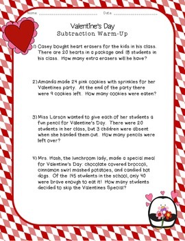 Valentine's Day Subtraction Warm-Up
