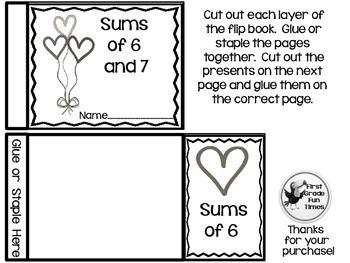 Valentine's Day Sum Flip Books