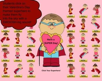 Valentine's Day Superhero SMART Board Attendance Activity