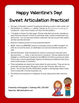 Valentine's Day ~ Sweet Articulation Practice!