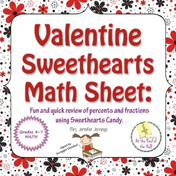 Valentine's Day Sweethearts Math Sheet
