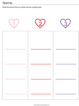 Valentine's Day Syllable Card Sorting