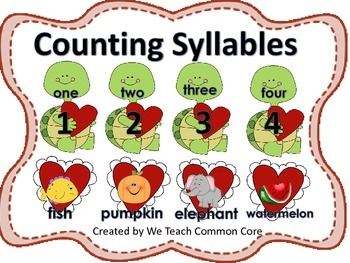 Valentine's Day Syllable Counting Literacy Station Activity Daily 5 Word Work